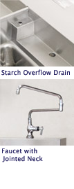 Starch Overflow Drain is Standard, Jointed Neck Faucet is an Option